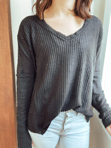 Whimsy Waffle Sweater in Black