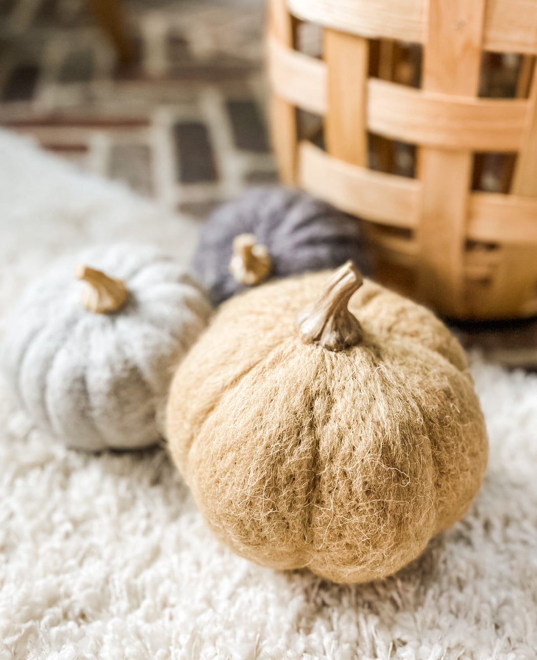 Tan Felt Pumpkin