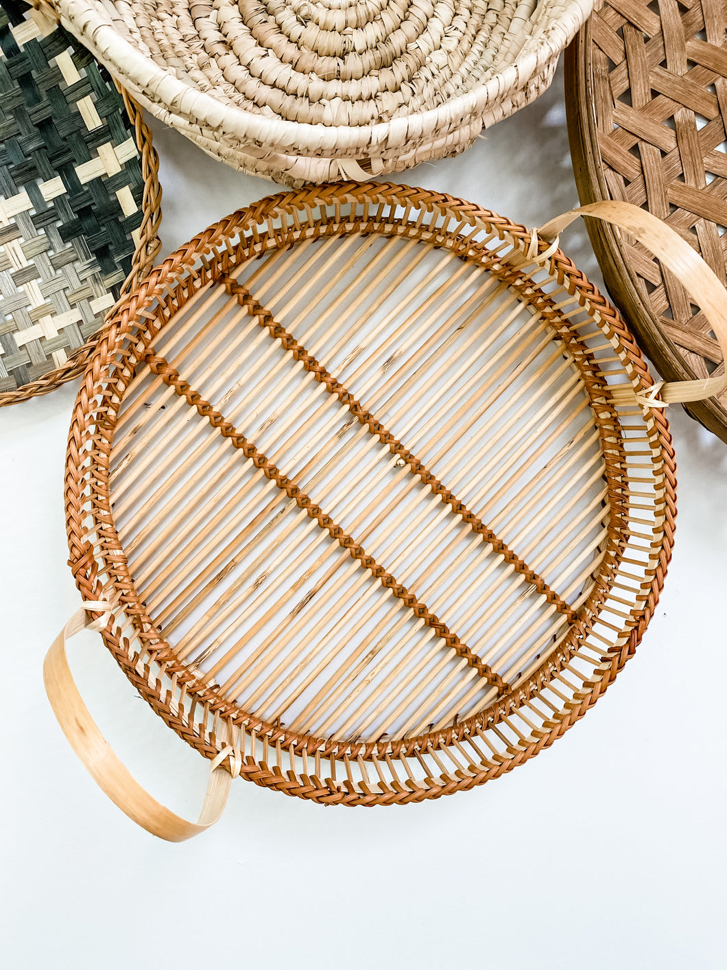 Round Bamboo Tray w/ Handles