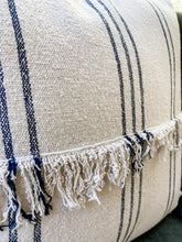 Load image into Gallery viewer, Navy Striped Fringe Pillow
