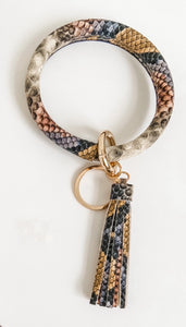 Colored Snake Skin Key Ring Bracelet
