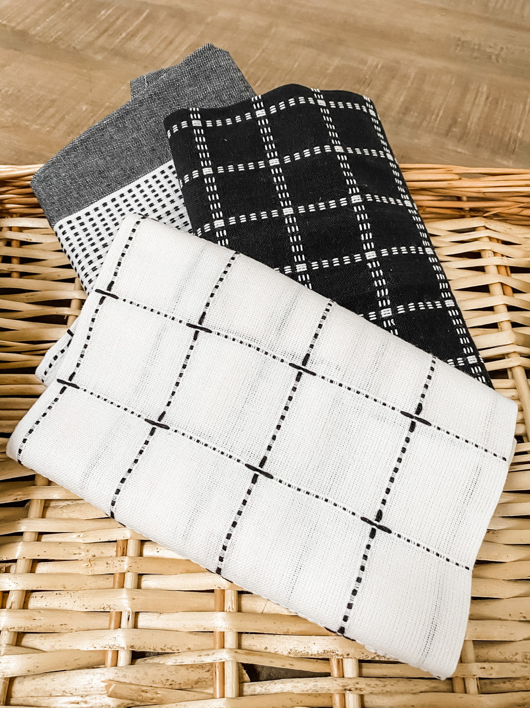 Black/Grey/White Tea Towels (Set of 3)