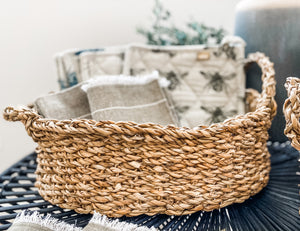 Oval Seagrass Baskets with Handles
