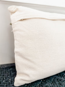 Lumbar Pillow With Green Fringe