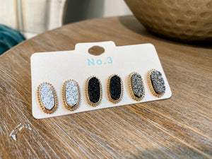 Stone Hexagon Stud Set