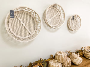 White Bamboo Wall Baskets
