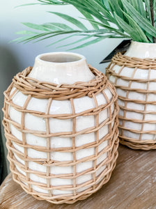 Rattan Wrapped White Vase