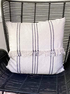 Navy Striped Fringe Pillow