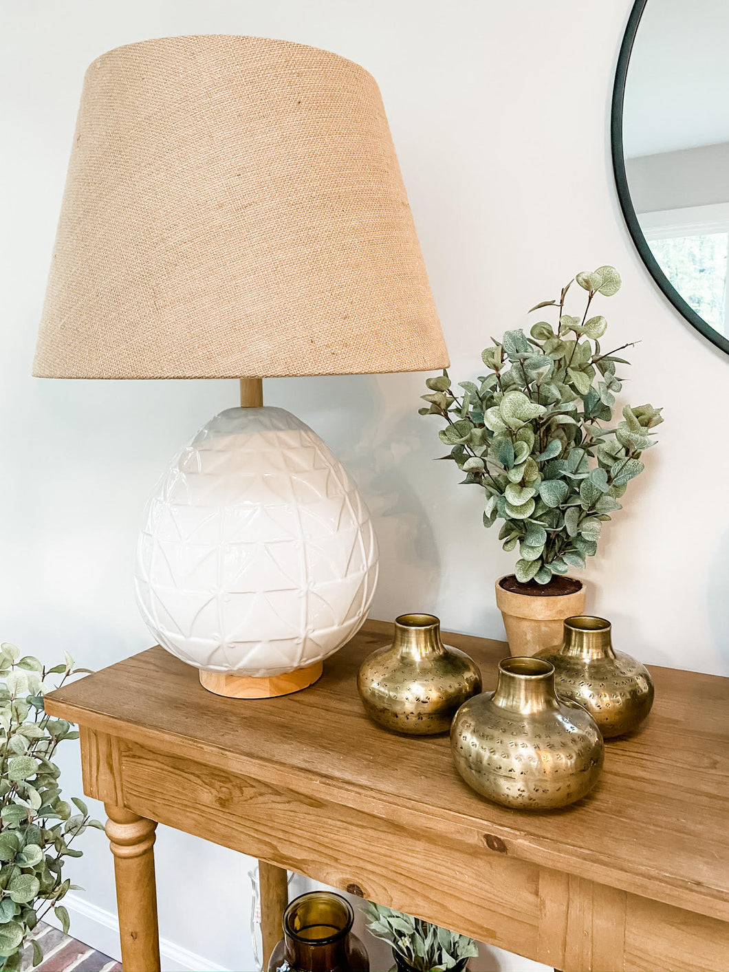Abha White Table Lamp - Leyland Blue