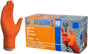 Orange Nitrile Gloves - Extra Thick With Diamond Grip Texture