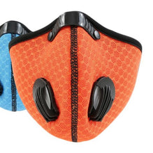 Load image into Gallery viewer, View of Orange Two Valve Mask Made of Soft,Quick-Drying,Nylon Mesh