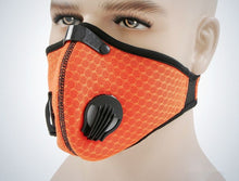 Load image into Gallery viewer, Orange Mesh Two Valve KN95 Face Mask Adjustable Velcro Closure
