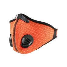 Load image into Gallery viewer, View of Orange Mesh Two Valve KN95 Face Mask with Snug Fit - PRL Co