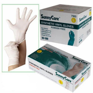 Powder and latex Free - White Synthetic Antibacterial Vinyl Gloves
