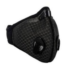 Load image into Gallery viewer, View of Black Two Valve Mask Adjustable Velcro Closure For a Snug Fit
