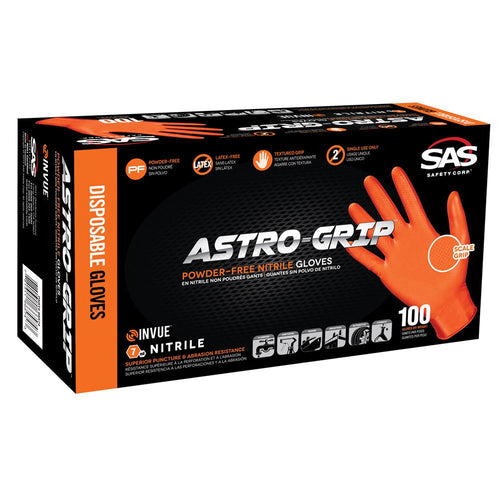 Astro Grip Powder Free Disposable Nitrile Gloves with Textured Grip