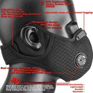 Side View of Black Dual Valve Ear Loop Mask with Adjustable strap