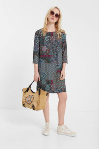 Desigual Long sleeved mandala dress