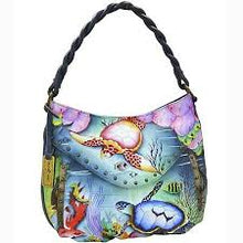 Load image into Gallery viewer, Anuschka Ruched Multi-Pocket Hobo- 513 Ocean Treasure