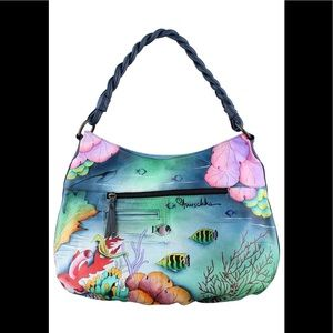 Anuschka Ruched Multi-Pocket Hobo- 513 Ocean Treasure