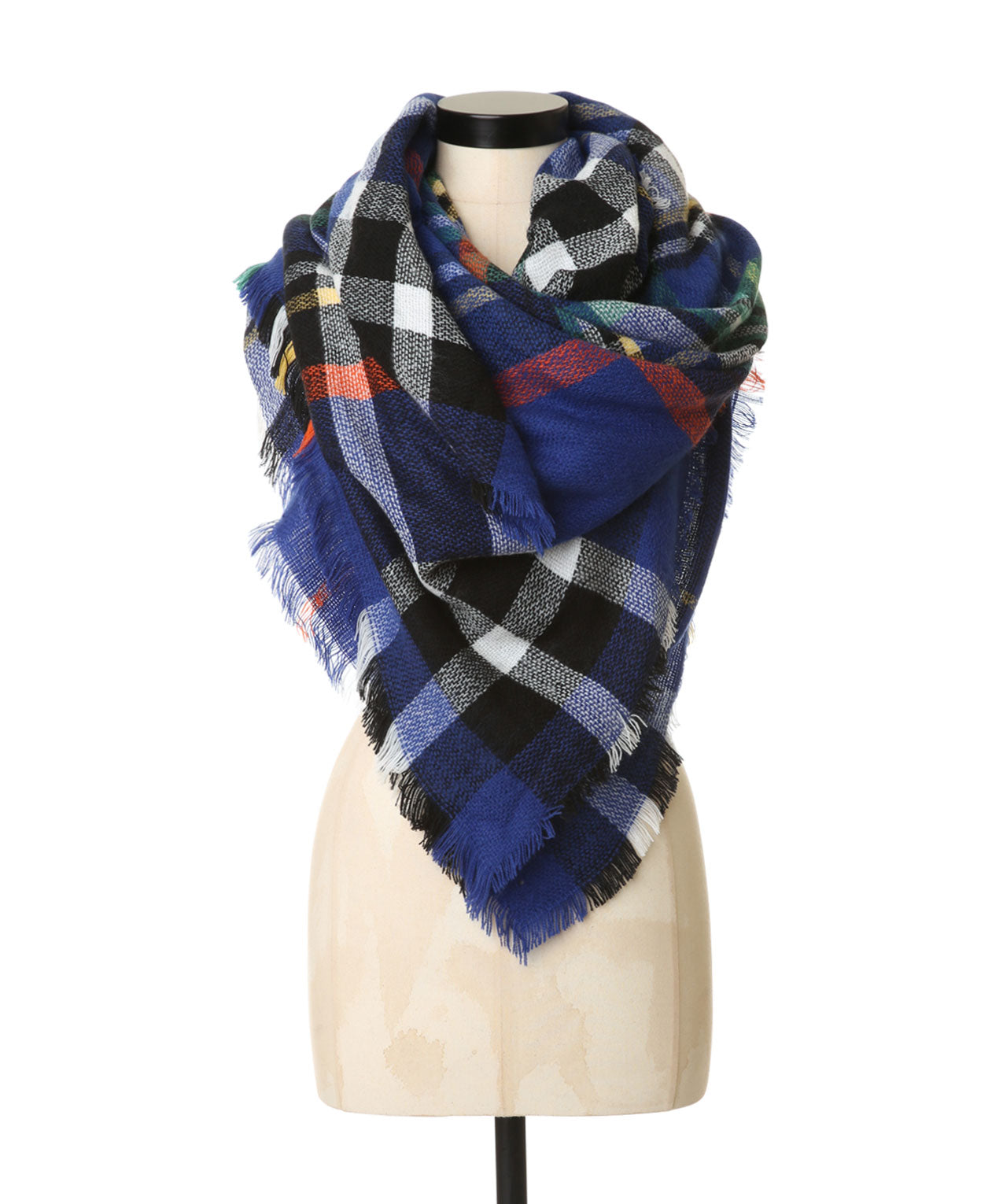 Multi Color Knit Plaid Blanket Scarf