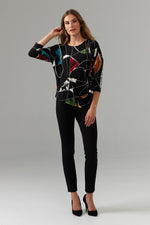 Load image into Gallery viewer, Joseph Ribkoff Drape Front Abstract Print Top