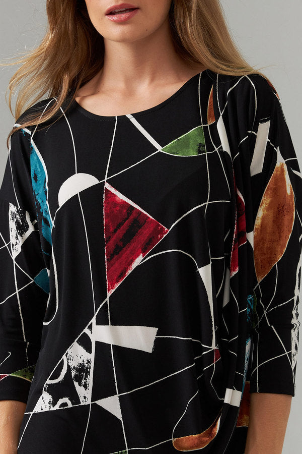 Joseph Ribkoff Drape Front Abstract Print Top