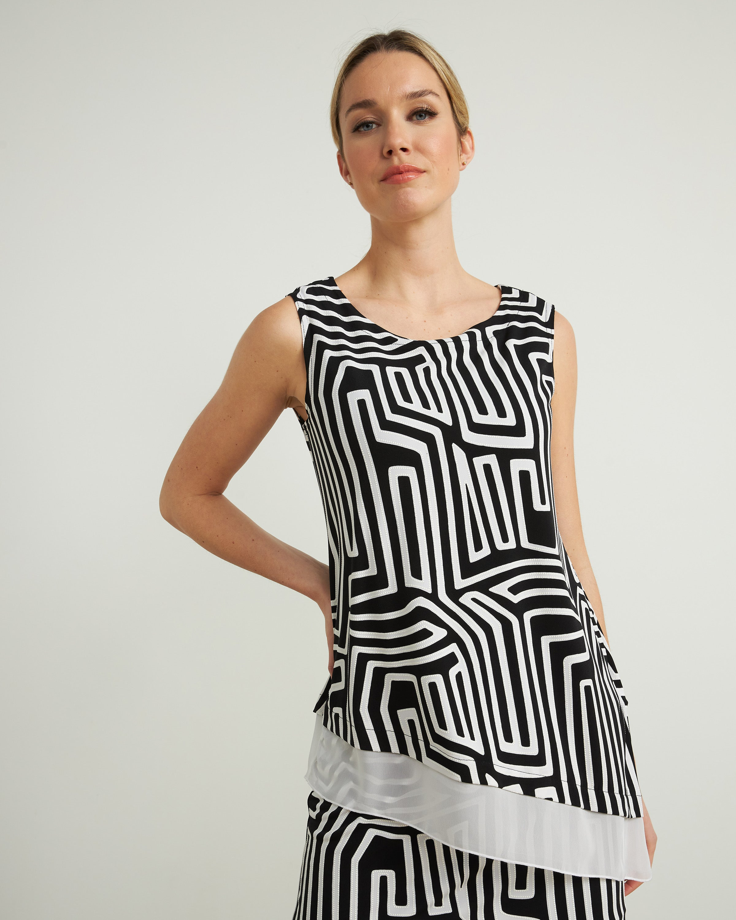 Joseph Ribkoff Abstract Print Sleeveless Top