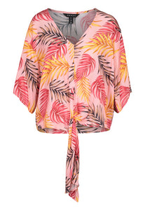 Tribal Tie Front Feather Print Blouse