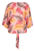 Load image into Gallery viewer, Tribal Tie Front Feather Print Blouse