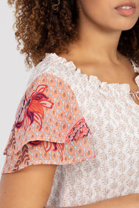 Tribal Contrast Pattern Ruffle Sleeve Top