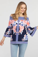 Load image into Gallery viewer, Tribal On/Off Shoulder Bell sleeve top