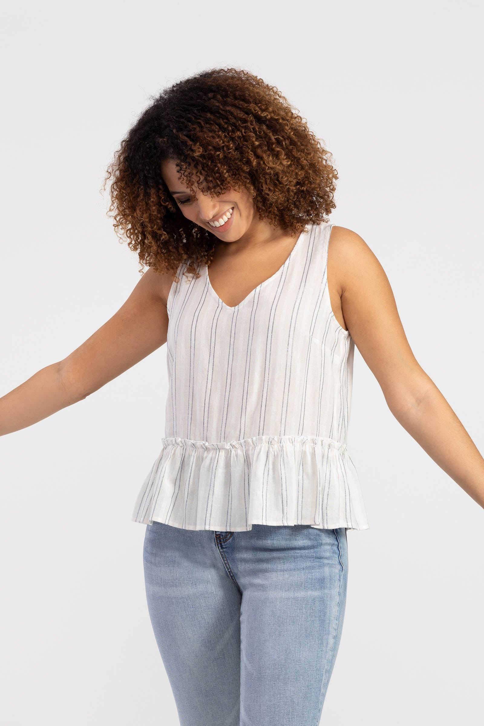 Tribal Striped Ruffle Hem Cami