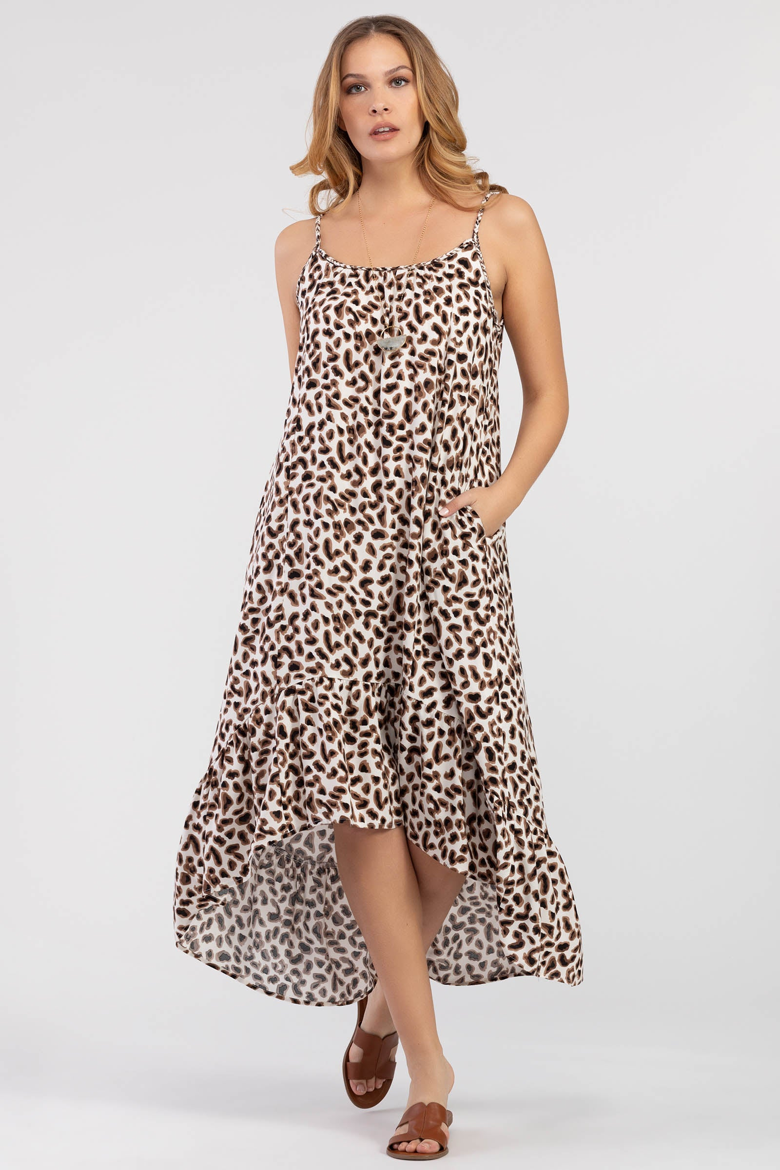 Tribal Leopard Print Maxi Dress