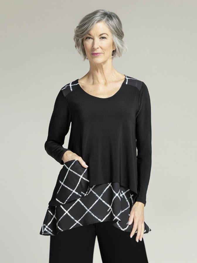 Sympli Crosshatch Whisper Pocket Top