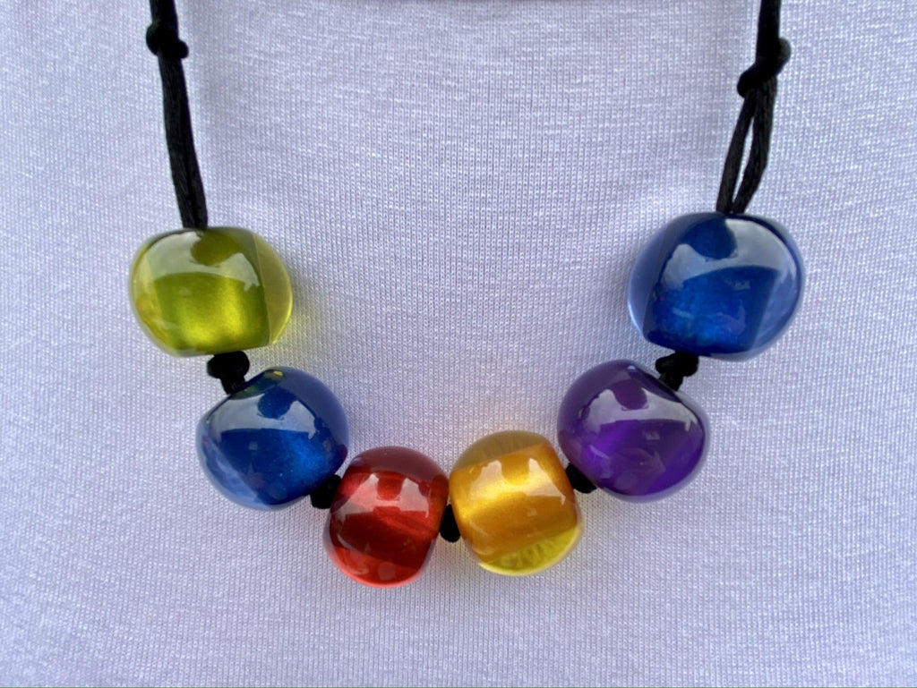 Zsiska Multi-Colour 6 Bead Necklace - South Coast Casuals
