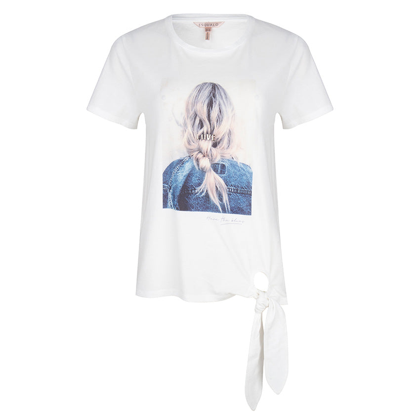 Esqualo Short Sleeve Printed Side Knot T-Shirt