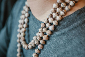 Long Paper Bead Necklace
