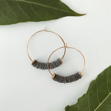 Load image into Gallery viewer, Leather Bits Hoop Earrings