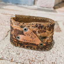 "Load image into Gallery viewer, ""Love Has No Borders"" Upcycled Cuff #1"