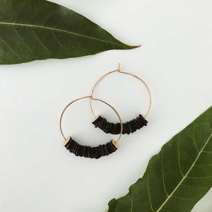Leather Bits Hoop Earrings