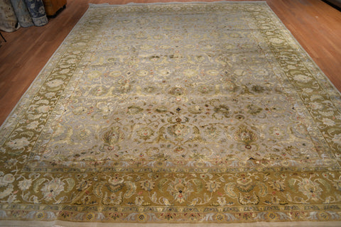 Stunning Hand knotted Agra wool & silk277x365 cm