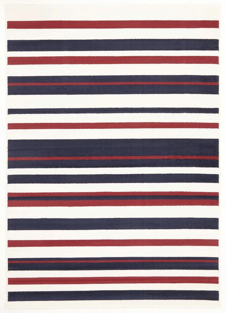 Modern Stripes Rug Blue Red White