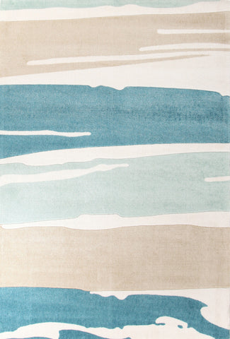 Brush Strokes Rug Blue