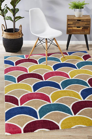 City Fish Scale Design Rug Raspberry Blue