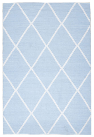 Coastal Indoor Out door Rug Diamond Sky Blue White