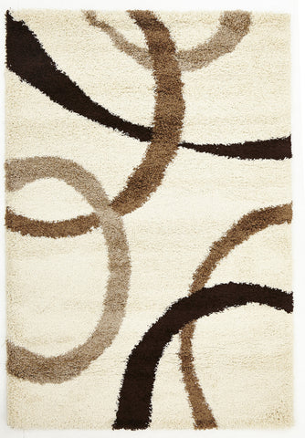 Soft Dense Ivory, Beige, Brown Rings Rug