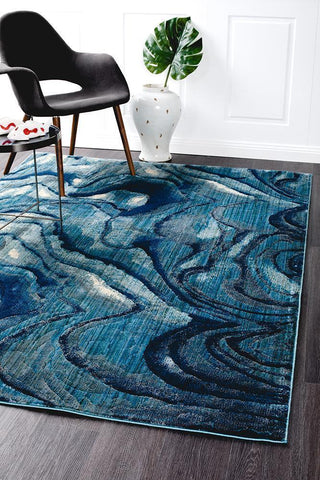 Dreamscape Waves Modern Indigo Rug