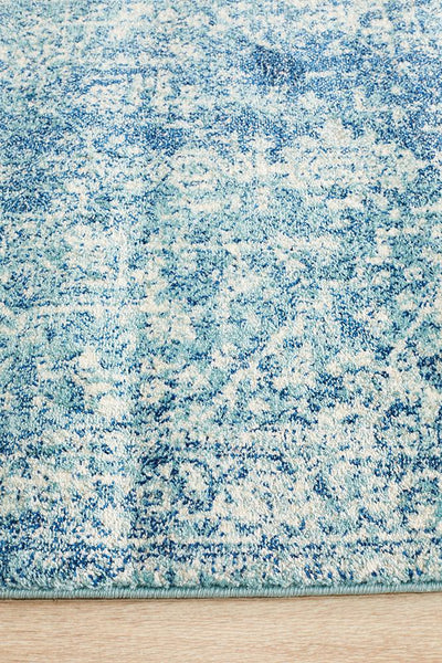 Evoke Muse Blue Transitional Runner Rug