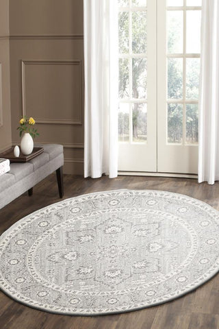 Evoke Silver Flower Transitional Round Rug